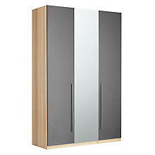 Buy House by John Lewis Mix it Tall T-Bar Handle Mirrored Triple Wardrobe, Gloss Steel/Natural Oak Online at johnlewis.com