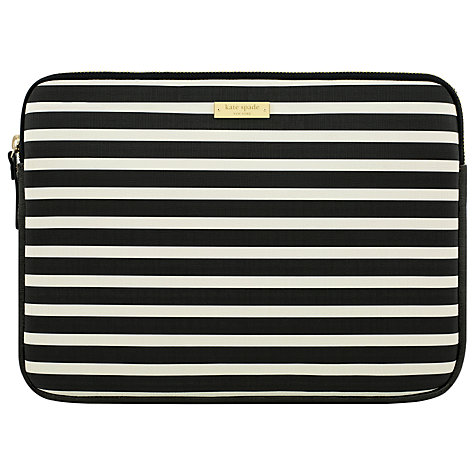 "Buy kate spade new york Stripe Monochrome 13"" Laptop Sleeve, Black/White Online at johnlewis.com"