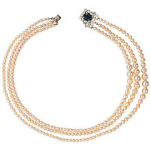 Buy Susan Caplan Vintage 1980s Silver Plated Graduated Faux Pearl and Swarovski Crystal Strand Necklace, Champagne Online at johnlewis.com