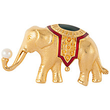 Buy Susan Caplan Vintage 1970s Monet Gold Plated Faux Pearl and Enamel Elephant Brooch, Gold Online at johnlewis.com
