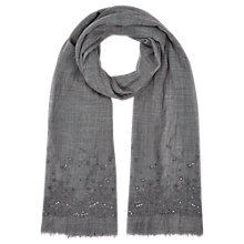 Buy Jigsaw Sequin Scarf, Grey Online at johnlewis.com