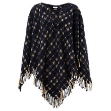 Buy Jigsaw Blanket Check Poncho, Navy Online at johnlewis.com