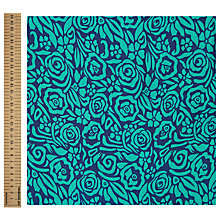 Buy John Lewis Cupro Roses Fashion Fabric, Teal Online at johnlewis.com