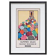 Buy London Transport Museum Summer Sales Quickly Reached by Underground Framed Print, 38 x 54cm Online at johnlewis.com