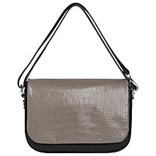 Buy Whistles Arion Croc Front Bag, Grey Online at johnlewis.com