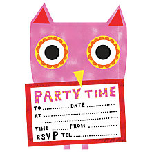Buy Nella Owl Die Cut Party Invites Online at johnlewis.com