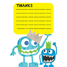 Buy Nella Little Monster Thank You Cards, Blue Online at johnlewis.com