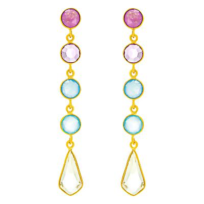 Auren 18ct Gold Vermeil Deco 5 Drop Gemstone Earrings, Gold/Multi
