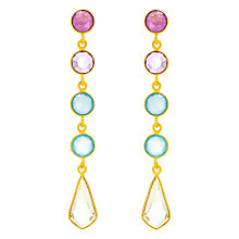 Buy Auren 18ct Gold Plated Sterling Silver Deco 5 Drop Gemstone Earrings, Gold/Multi Online at johnlewis.com