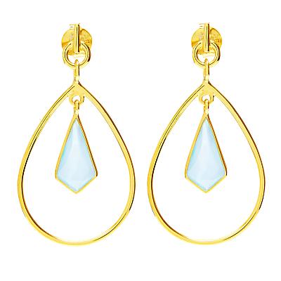 Auren 18ct Gold Vermeil Aqua Chalcedony Kite Drop Earrings, Gold/Blue