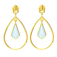 Buy Auren 18ct Gold Vermeil Aqua Chalcedony Kite Drop Earrings, Gold/Blue Online at johnlewis.com