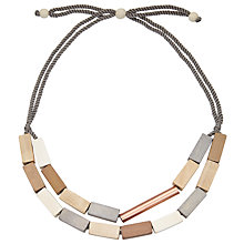 Buy John Lewis Wooden Layered Rectangle Beads Necklace, Grey/Beige Online at johnlewis.com