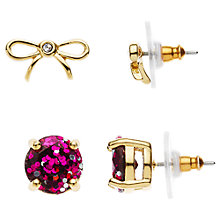 Buy kate spade new york Bow and Glitter Stud Earrings Set, Gold/Pink Online at johnlewis.com