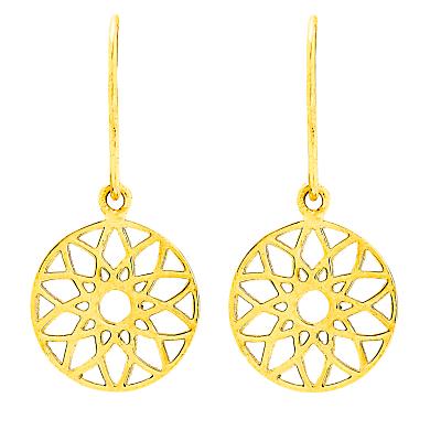 Auren 18ct Gold Vermeil Dreamcatcher Drop Earrings, Gold