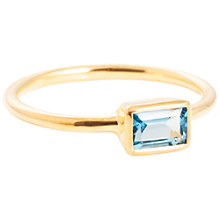 Buy Auren 18ct Gold Plated Sterling Silver Baguette Topaz Ring, Gold/Blue Online at johnlewis.com