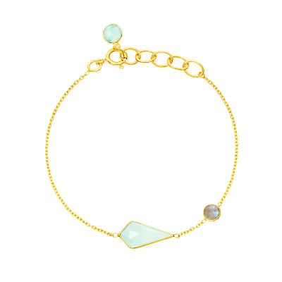 Auren 18ct Gold Vermeil Aqua Quartz Kite and Labradorite Bracelet, Gold/Multi