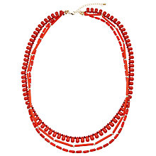 Buy John Lewis Mixed Bead Long Necklace, Red Online at johnlewis.com