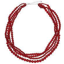 Buy John Lewis Twisted Round Bead Necklace, Berry Online at johnlewis.com