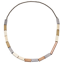 Buy John Lewis Wooden Rectangle Beads Necklace, Grey/Beige Online at johnlewis.com