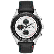 Buy Armani Exchange AX1611 Men's Chronograph Leather Strap Watch, Black/White Online at johnlewis.com