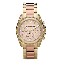 Buy Michael Kors MK6316 Women's Blair Chronograph Embellished Bracelet Strap Watch, Gold/Rose Gold Online at johnlewis.com