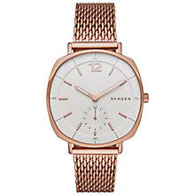 Buy Skagen SKW2401 Women's Rungsted Mesh Bracelet Strap Watch, Rose Gold/White Online at johnlewis.com