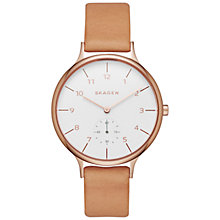 Buy Skagen SKW2405 Women's Anita Leather Strap Watch, Tan/White Online at johnlewis.com