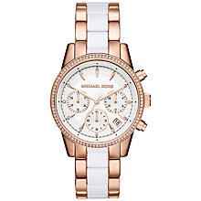Buy Michael Kors MK6324 Women's Ritz Chronograph Two Tone Bracelet Strap Watch, Rose Gold/White Online at johnlewis.com