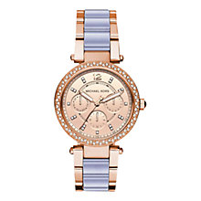 Buy Michael Kors MK6327 Women's Mini Parker Single Chronograph Two Tone Bracelet Strap Watch, Rose Gold/Grey Online at johnlewis.com