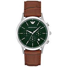 Buy Emporio Armani Men's Renato Chronograph Leather Strap Watch Online at johnlewis.com