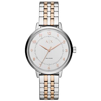 Armani Exchange AX5370 Women's Two Tone Bracelet Strap Watch, Silver/Rose Gold