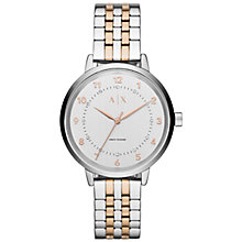 Buy Armani Exchange AX5370 Women's Payton Two Tone Bracelet Strap Watch, Silver/Rose Gold Online at johnlewis.com