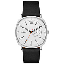 Buy Skagen SKW6256 Men's Rungsted Leather Strap Watch, Black/White Online at johnlewis.com