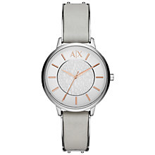 Buy Armani Exchange AX5311 Women's Leather Strap Watch, Grey/Silver Online at johnlewis.com
