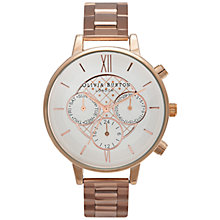 Buy Olivia Burton OB15CG82 Big Dial Chrono Detail Chronograph Bracelet Strap Watch, Rose Gold/White Online at johnlewis.com