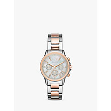 Buy Armani Exchange AX4331 Women's Lady Banks Chronograph Two Tone Bracelet Strap Watch, Silver/Rose Gold Online at johnlewis.com