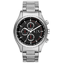 Buy Armani Exchange AX1612 Men's Chronograph Bracelet Strap Watch, Silver/Black Online at johnlewis.com