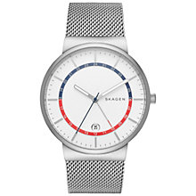 Buy Skagen SKW6251 Men's Ancher GMT Mesh Bracelet Strap Watch, Silver/White Online at johnlewis.com