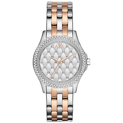 Armani Exchange AX5249 Women's Bracelet Strap Watch, Silver/Rose Gold