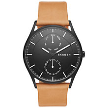 Buy Skagen SKW6265 Men's Holst Single Chronograph Leather Strap Watch, Tan/Black Online at johnlewis.com