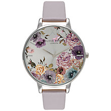 Buy Olivia Burton OB15EG05 Women's Parlour Leather Strap Watch, Lilac/Grey Online at johnlewis.com