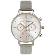 Buy Olivia Burton OB15CG80 Big Dial Chrono Detail Chronograph Mesh Bracelet Strap Watch, Silver Online at johnlewis.com