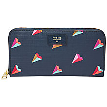 Buy Fossil Sydney Zip Hearts Purse, Blue Online at johnlewis.com