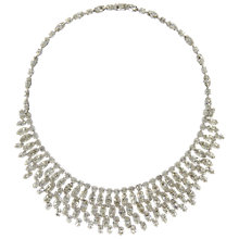 Buy Eclectica Vintage 1960s Hobe Chrome Plated Diamante Navette Necklace, Silver Online at johnlewis.com