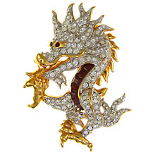 Buy Eclectica Vintage 1980s Swarovski Gold Plated Swarovski Crystal Chinese Dragon Brooch, Gold/Multi Online at johnlewis.com