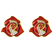 Buy Eclectica Vintage 1980s Gold Plated Rose Bud Swarovski Crystal and Enamel Clip-On Earrings, Red/Gold Online at johnlewis.com