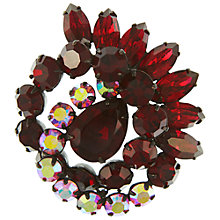 Buy Eclectica Vintage 1950s Japanned Plated Glass Stone Brooch, Claret/Blossom Online at johnlewis.com