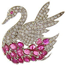 Buy Eclectica Vintage 1980s Rhodium Plated Swan Faux Ruby Cubic Zirconia Brooch, Silver/Red Online at johnlewis.com