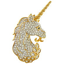 Buy Eclectica Vintage 1980s Gold Plated Swarovski Crystal Unicorn Brooch, Gold Online at johnlewis.com