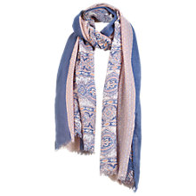 Buy Fat Face Paisley Tile Patchwork Print Scarf, Denim/Coral Online at johnlewis.com